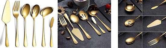HOMQUEN juego dorado de cubiertos para servir 6 piezas