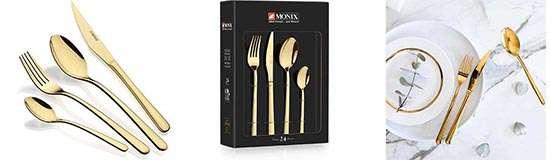 Monix Pisa Gold set de cubiertos dorados de 24 piezas