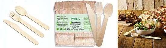 VIMOV 200 Piezas cubiertos de Madera Desechables para fiestas