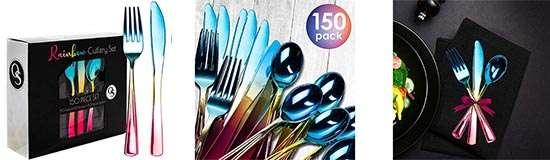 150 Piezas Cubiertos de Plástico Desechables Premium color Arco Iris
