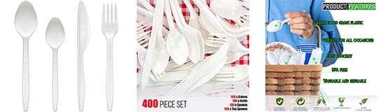 400 Cubiertos de Plástico Blanco Desechables