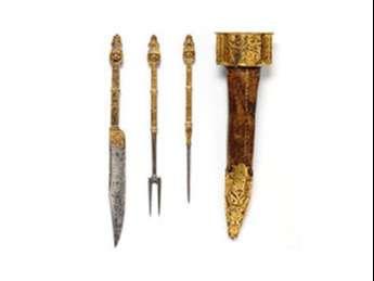 Horquillas francesas de acero y hierro dorado de 1550-1600.