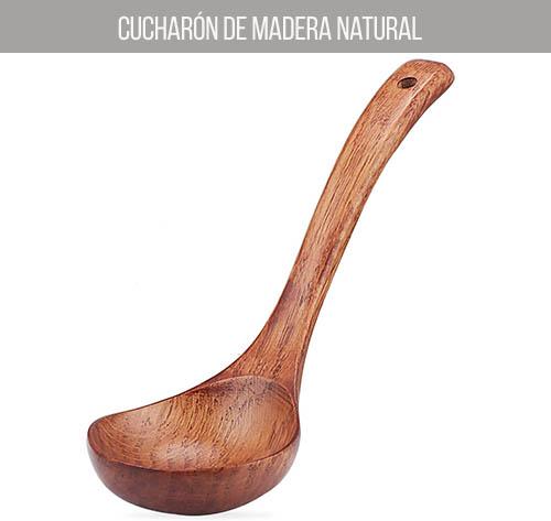 Cucharón de madera natural de 24 cm de largo
